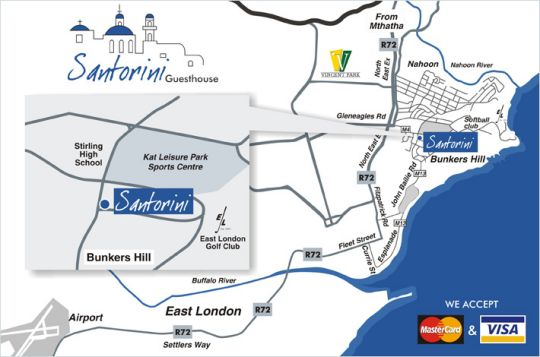 Map Santorini Guest House in Bunkers Hill  East London  Amatole  Eastern Cape  South Africa