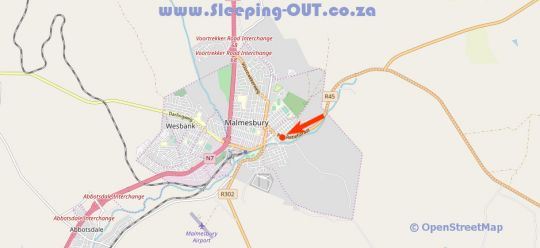 Map Jackie\'s Farm Accommodation & Events in Malmesbury  Swartland  Western Cape  South Africa