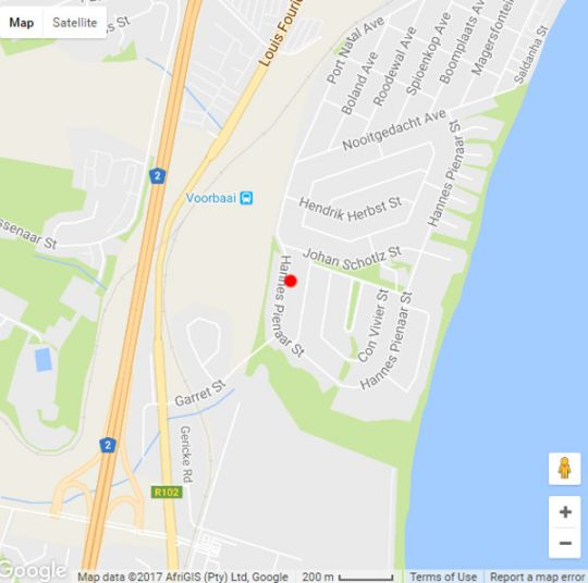 Map The Urban Guesthouse in Hartenbos  Garden Route  Western Cape  South Africa