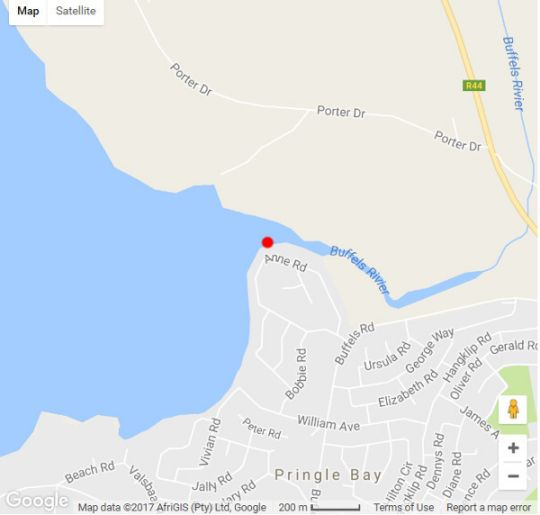 Map The Barnacle in Pringle Bay  Overberg  Western Cape  South Africa