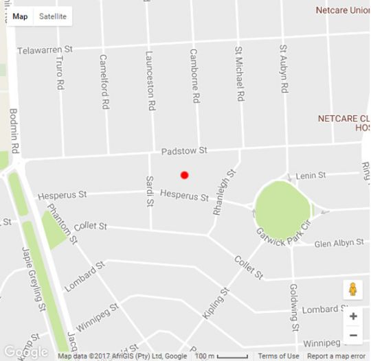 Map Hesperus Street in New Redruth  Alberton  Ekurhuleni (East Rand)  Gauteng  South Africa