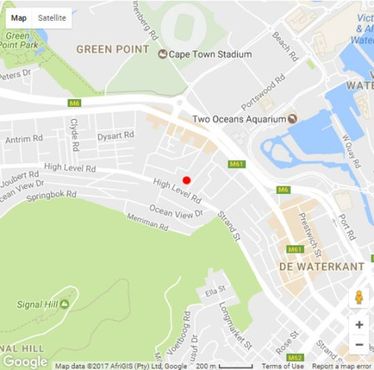 Map The Tree House Boutique Hotel in Green Point  Atlantic Seaboard  Cape Town  Western Cape  South Africa