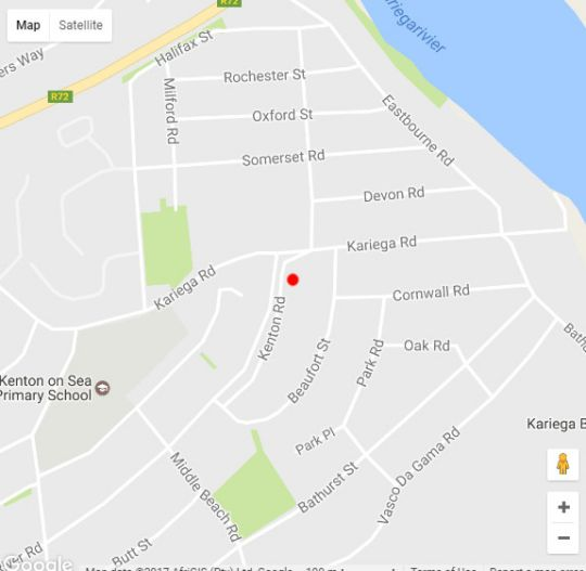 Map The House Quarters in Kenton-on-Sea  Cacadu (Sarah Baartman)  Eastern Cape  South Africa