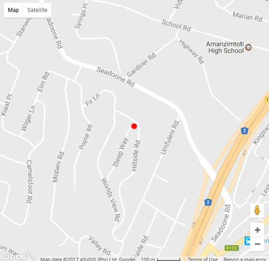Map Sapphire Holiday Home in Amanzimtoti  South Coast (KZN)  KwaZulu Natal  South Africa