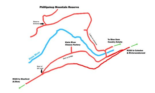 Map Phillipskop Mountain Reserve in Stanford  Overberg  Western Cape  South Africa