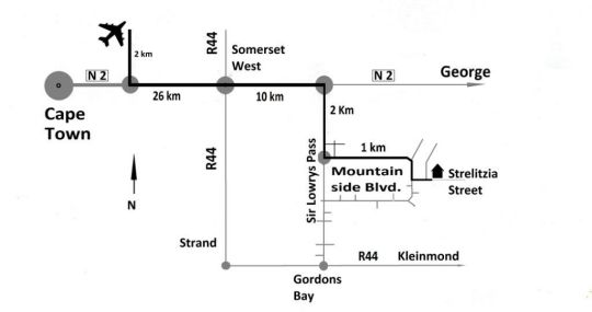 Map Tablemountain view in Gordon's Bay  Helderberg  Western Cape  South Africa