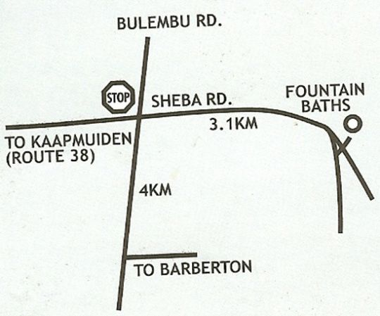 Map Fountain Baths in Barberton  Lowveld  Mpumalanga  South Africa