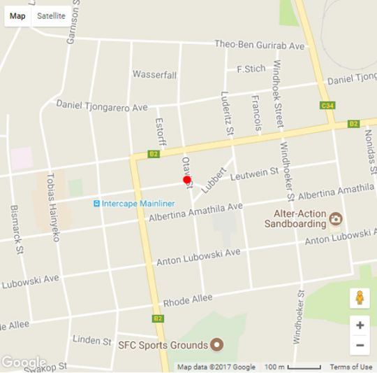 Map Exousia Self Catering Apartments in Swakopmund  Erongo  Namibia