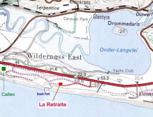 Map La Retraite Wilderness in Wilderness  Garden Route  Western Cape  South Africa