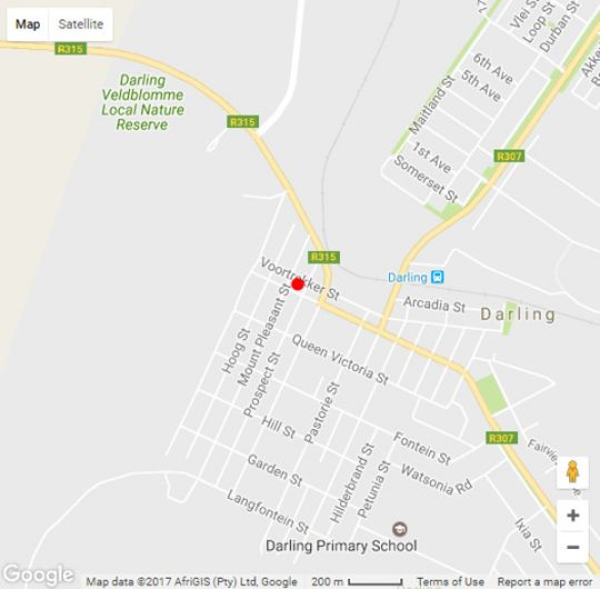 Map Daisy Darling B&B in Darling  Swartland  Western Cape  South Africa
