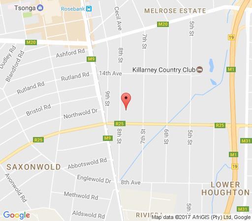 Map Houghton Estate B&B in Houghton Estate  Johannesburg East  Johannesburg  Gauteng  South Africa