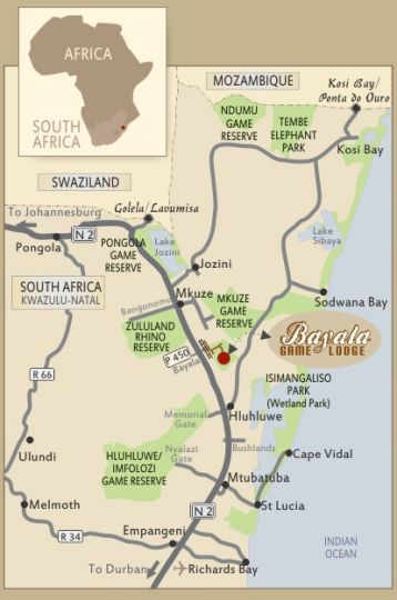 Map Bayala Game Lodge in Hluhluwe  Zululand  KwaZulu Natal  South Africa