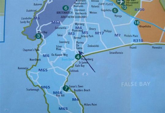 Map Waterways in Muizenberg  False Bay  Cape Town  Western Cape  South Africa