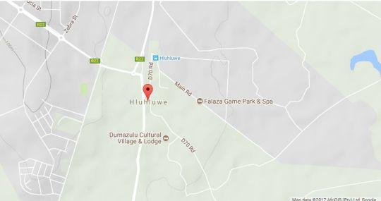 Map Zululand Lodge in Hluhluwe  Zululand  KwaZulu Natal  South Africa
