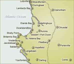 Map Baviana Beach Lodge in Jacobsbaai  West Coast (WC)  Western Cape  South Africa