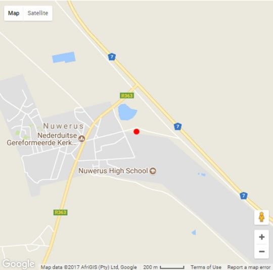Map Toeka\'s Cottage Nuwerus Namaqualand in Nuwerus  Namakwaland  Northern Cape  South Africa