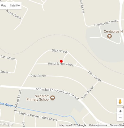Map Suiderhof Self-Catering Accommodation in Windhoek  Khomas  Namibia