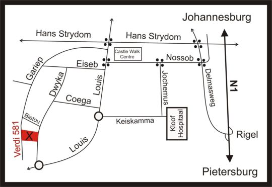 Map Opikopi in Erasmuskloof  Pretoria East  Pretoria / Tshwane  Gauteng  South Africa