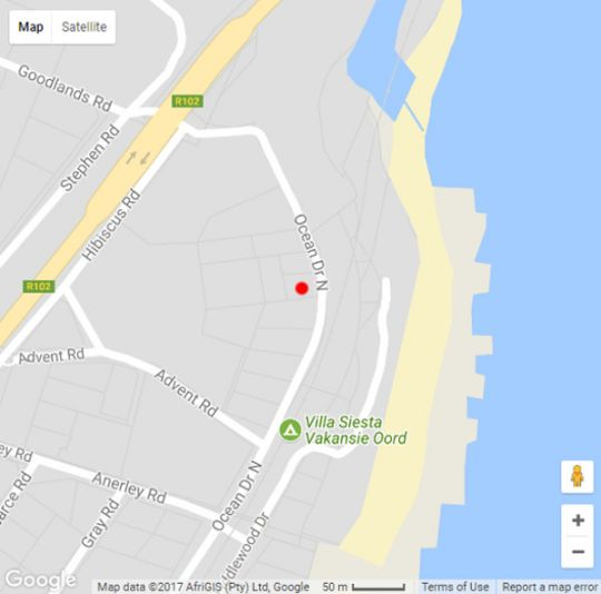 Map Ocean\'s Paradise Beach Cottage in Anerley  South Coast (KZN)  KwaZulu Natal  South Africa