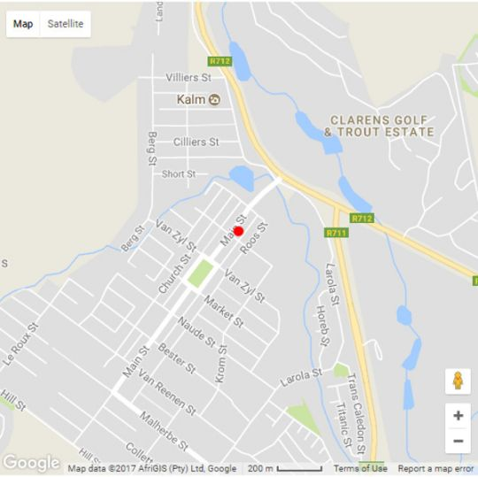 Map Clarens Butterfly Villa in Clarens  Thabo Mofutsanyana  Free State  South Africa