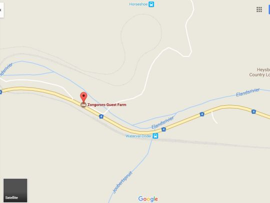 Map Zongororo Guest Farm in Waterval Onder  Highlands  Mpumalanga  South Africa