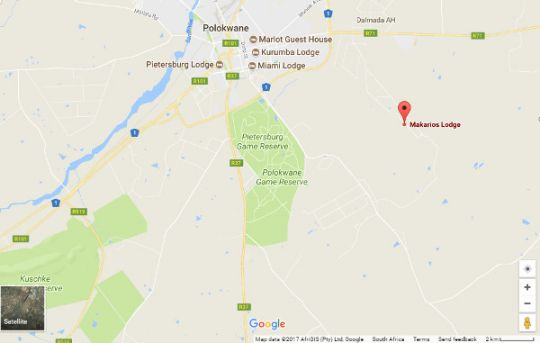 Map Makarios Lodge in Polokwane  Capricorn  Limpopo  South Africa