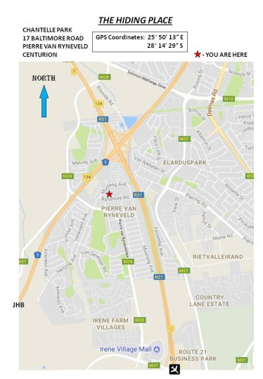 Map The Hiding Place in Lyttelton  Centurion  Pretoria / Tshwane  Gauteng  South Africa