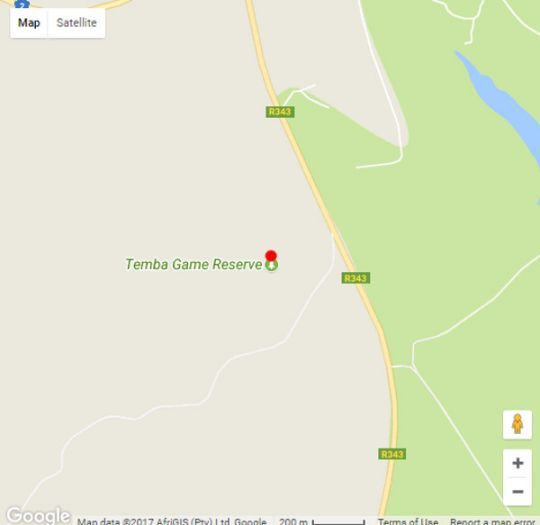 Map Temba Private Game Reserve in Grahamstown  Cacadu (Sarah Baartman)  Eastern Cape  South Africa