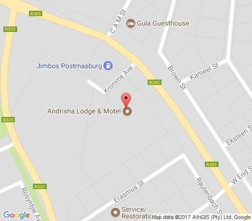 Map Andrisha Motel in Postmasburg  Green Kalahari  Northern Cape  South Africa