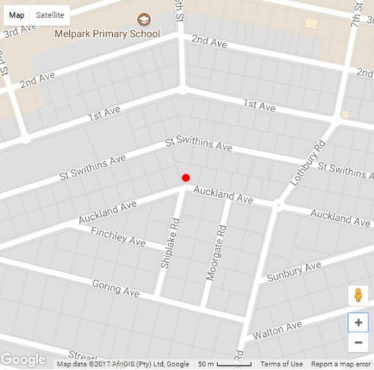 Map Melvilla Guesthouse in Auckland Park  Northcliff/Rosebank  Johannesburg  Gauteng  South Africa