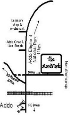 Map The Aardvark Guesthouse in Addo  Cacadu  Eastern Cape  S�dafrika