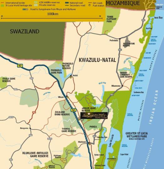 Map Sungulwane Hills Game Lodge in Hluhluwe  Zululand  KwaZulu Natal  South Africa