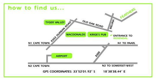 Map Feathers Boutique Hotel in Durbanville  Northern Suburbs (CPT)  Cape Town  Western Cape  South Africa
