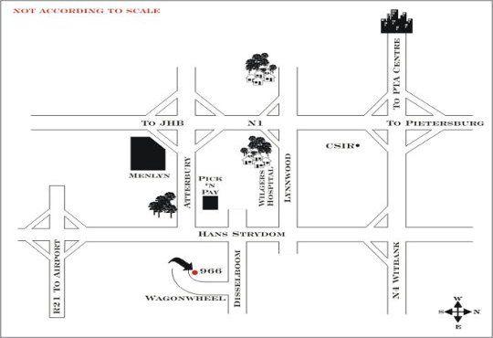 Map Jopasso Guest House in Wapadrand  Pretoria East  Pretoria / Tshwane  Gauteng  South Africa