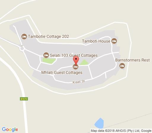 Map Mhlati Guest Cottages in Malelane  Kruger National Park (MP)  Mpumalanga  South Africa
