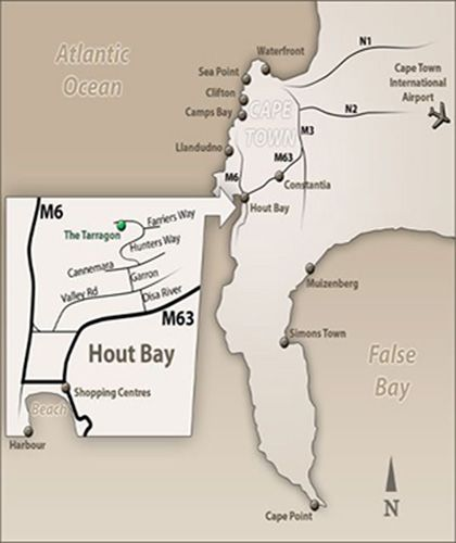 Map The Tarragon in Hout Bay  Atlantic Seaboard  Cape Town  Western Cape  South Africa