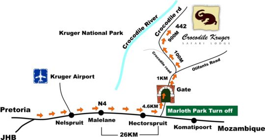 Map Crocodile Kruger Safari Lodge in Marloth Park  Kruger National Park (MP)  Mpumalanga  South Africa