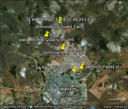 Map Almondbury Guest Farm in Robertson  Breede River Valley  Western Cape  South Africa