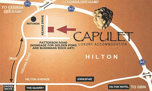 Map Capulet in Hilton  Pietermaritzburg  Midlands  KwaZulu Natal  South Africa