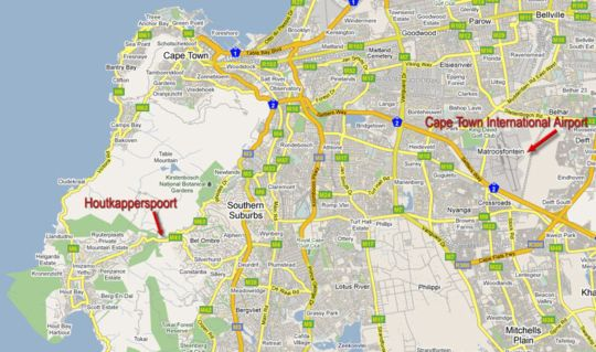 Map Houtkapperspoort Cottages in Constantia (CPT)  Southern Suburbs (CPT)  Cape Town  Western Cape  South Africa