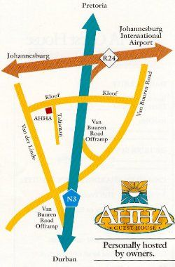 Map Ah Ha Luxury Accommodation in Bedfordview  Ekurhuleni (East Rand)  Gauteng  South Africa