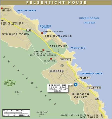 Map Felsensicht Holiday Home in Simon's Town  False Bay  Cape Town  Western Cape  South Africa