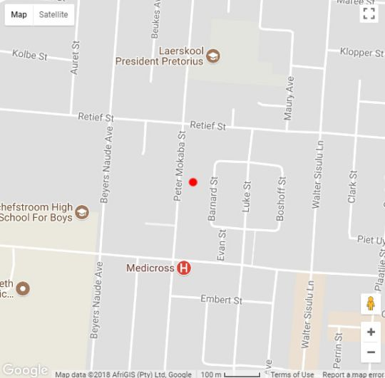 Map Camelot Guest House & Apartments in Potchefstroom  Southern (NW)  North West  South Africa