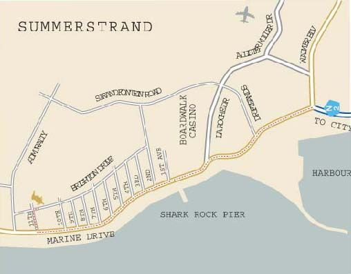 Map Kingfisher Guest House in Summerstrand  Port Elizabeth  Cacadu (Sarah Baartman)  Eastern Cape  South Africa