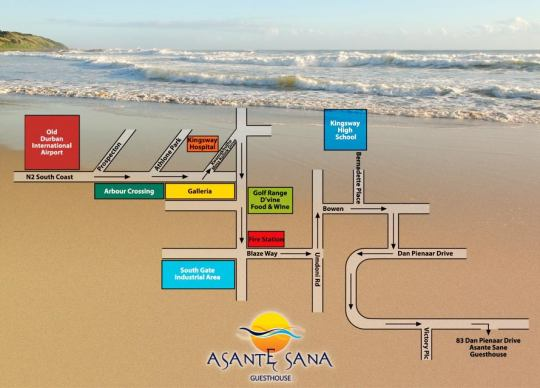 Map Asante Sana Amanzimtoti Guesthouse in Amanzimtoti  South Coast (KZN)  KwaZulu Natal  South Africa