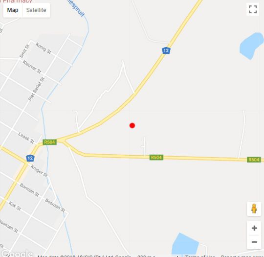 Map Die Geel Huis Guesthouse in Wolmaransstad  Southern (NW)  North West  South Africa