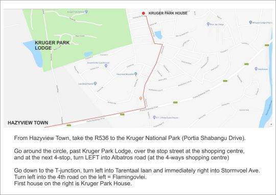 Map Kruger Park House in Hazyview  The Panorama  Mpumalanga  South Africa