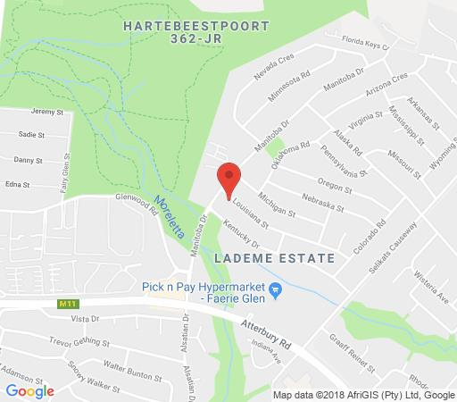 Map 454 On Louisiana Street in Faerie Glen  Pretoria East  Pretoria / Tshwane  Gauteng  South Africa