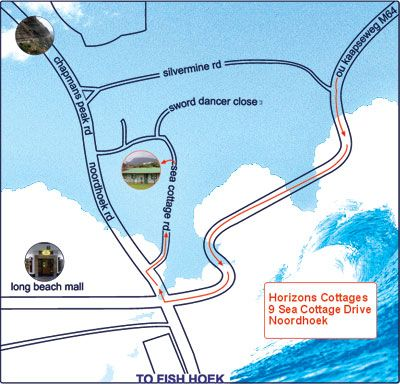 Map Horizon Cottages in Noordhoek  False Bay  Cape Town  Western Cape  South Africa