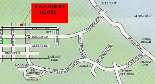 Map Victoria & Alfred Guest House in Walmer  Port Elizabeth  Cacadu (Sarah Baartman)  Eastern Cape  South Africa